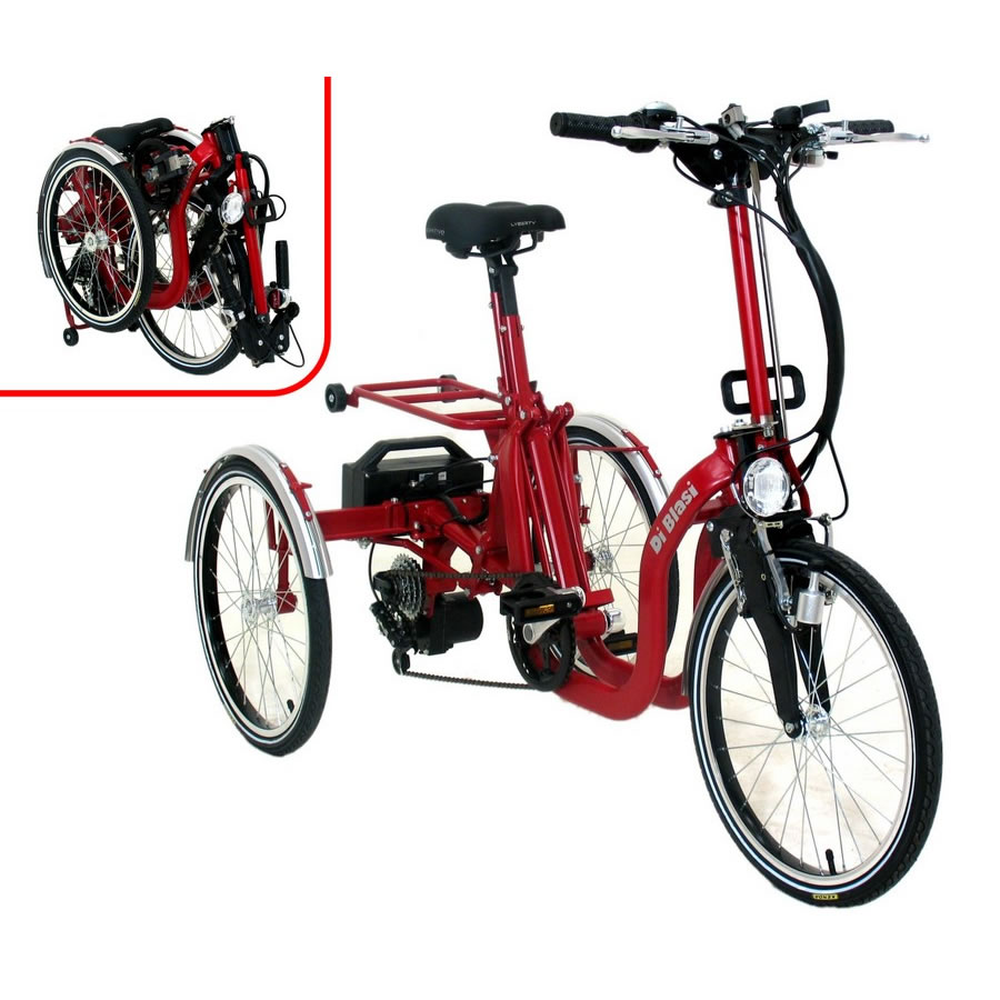 DiBlasi R34 electric folding trike, front and folded views